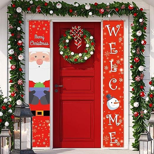 Funnytree Veranda Schild Mit Aufschrift Merry Christmas Weihnachtsmann Winter Banner Polyester Für Haus Garten Tür Wanddekoration Winddicht 2 Stück Garten