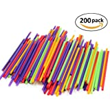 200-Count Drinking Straws for Cold Drinks, Milkshakes and Healthy Drinks | Colored, Disposable, Recyclable | Kid-Friendly, Assorted Colors (Colors may Vary)