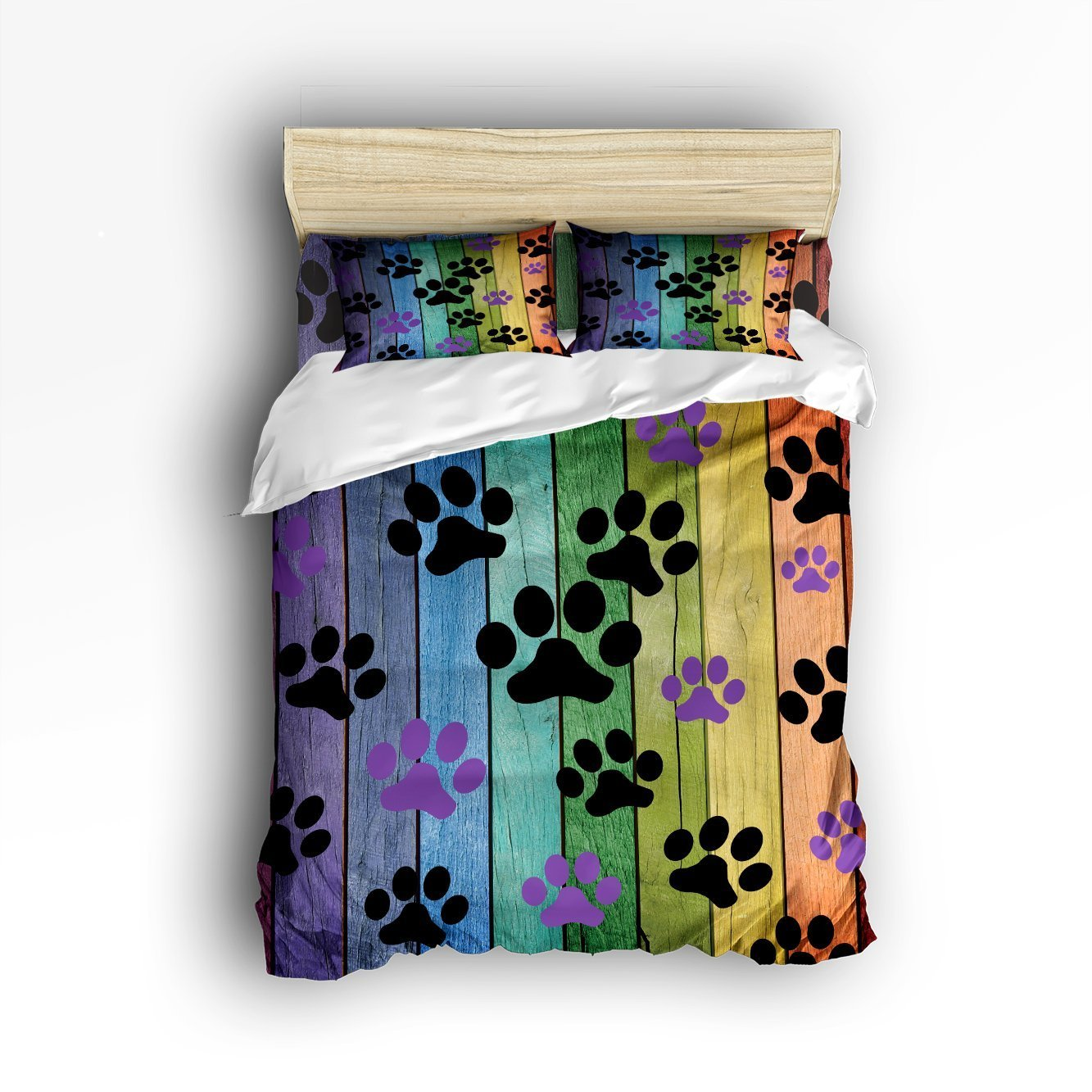 4 Pieces Bedding bed Set Comfortable Soft Brushed Cotton, Dog Paw Prints Rustic Old Barn Wood Bed Sheet Set Duvet Cover Flat Sheet and Pillow CasesTwin Size by LovingIn (Image #1)