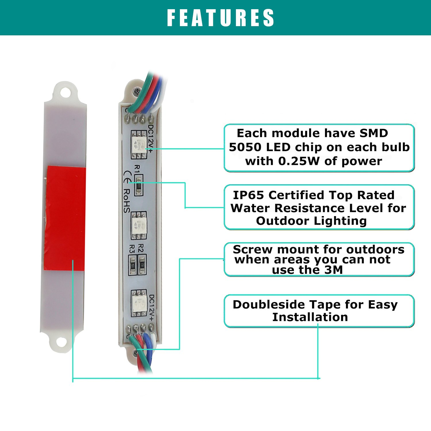 Storefront Lights, Pomelotree 2 Pack 3 Led 40PCS 5050 Super Bright LED Module Lights Waterproof Decorative Light with Tape Adhesive for Store Window Lighting and Advertising Signs by Pomelotree (Image #8)