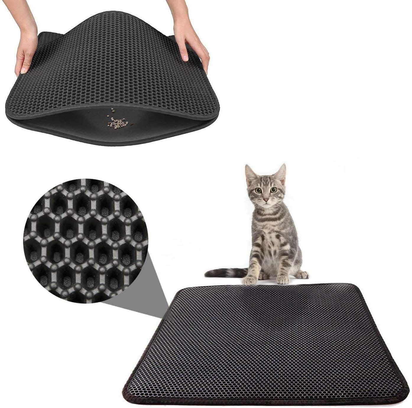 Cozywind Estera de Arena para Gatos, Alfombra para Gatos,40 x 50 cm,FÁCIL DE Limpiar, Impermeable Alfombra de Basura de Doble Capa (Negro)