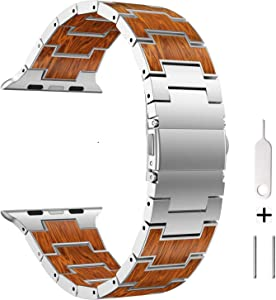 AWMES Compatible for Apple Watch Band 42mm 44mm, Natural Wood Red Sandalwood Stainless Steel Metal Strap Replacement Band for iWatch Bands Compatible for Apple Watch Series 6/5/4/3/2/1 (Sliver)