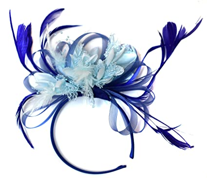 Image Unavailable. Image not available for. Colour  Royal and Baby Blue  Light Fascinator on Headband ... 8cdeabfcbc7
