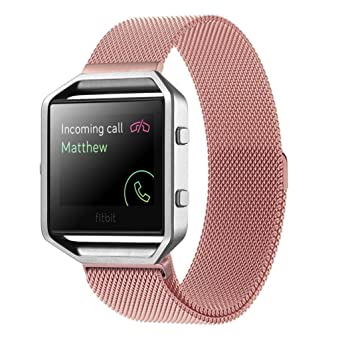 BESSKY Milanese Magnetic Loop Bands Strap Bracelet for Fitbit Blaze Smart Fitness Watch, Pink