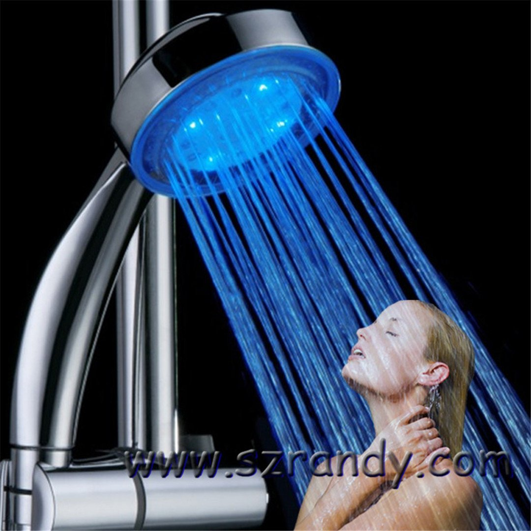 Water Power Colorful LED Shower Head Handheld Temperature Sensor Light Shower Head No Battery Bathroom Accessories Single Blue Color