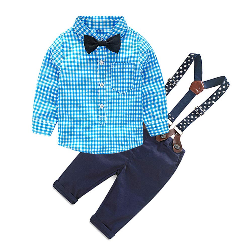 eda120867c8ff Amazon.com: Merryway Toddler Boys Outfits Suit Infant Clothing Newborn Baby  Boy Clothes Sets Gentleman Plaid Top+Bow Tie+Suspender Pants: Clothing