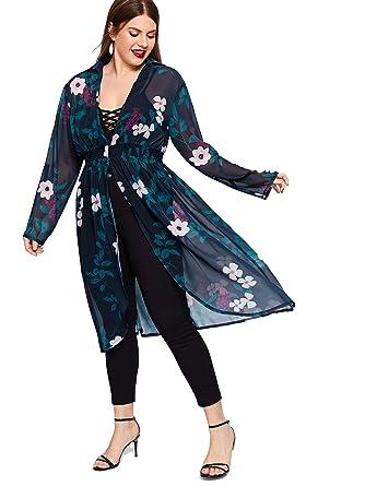 c704fdd662 Romwe Women's Plus See Through Cover Up Floral Print Elastic Waist Chiffon  Kimono Cardigan Navy 2XL