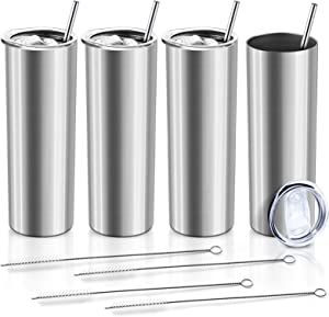 XccMe 20 oz Skinny Tumblers with Straws, 4 Pack Stainless Steel Double Wall Insulated Cups with Lids, for Travel Mug Gift, Beverages Great for Men and Women (Silver)