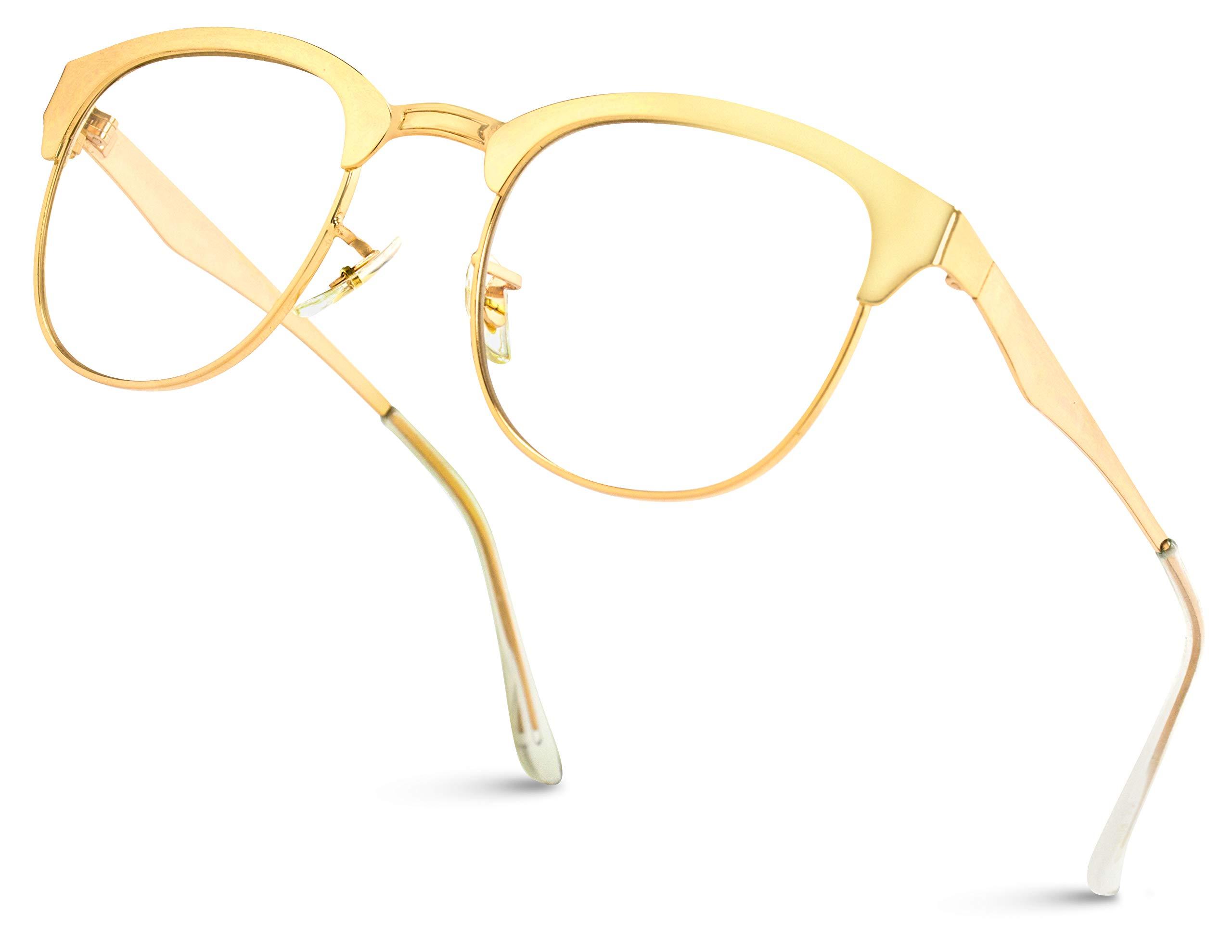 WearMe Pro - Full Metal Frame Modern Half Frame Clear Lens Non-Prescription Glasses by WearMe Pro