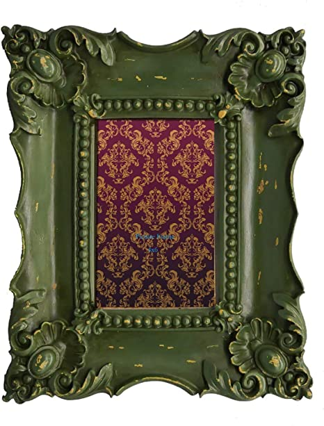 Green Frame Victorian Girls Brass with Buttons Antique Children/'s Photo Handmade Frame Green Wood Frame