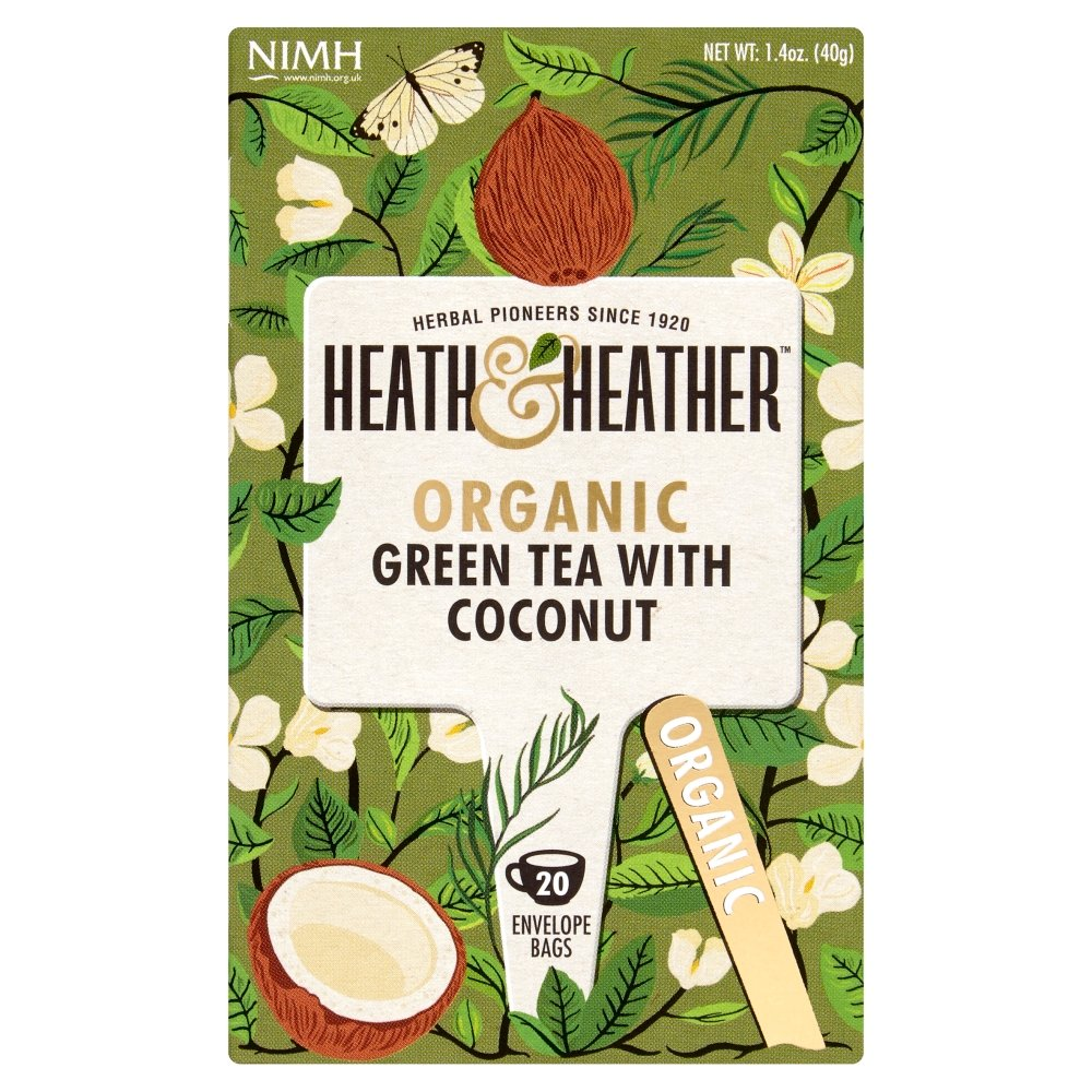 Heath & Heather Organic Green Tea with Coconut 20 Envelope Bags, 40 g TI20334