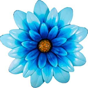Shefio Chrysanthemum Metal Flower Decor | Blue Decorative Wall Art for Home/Garden/Office | Metal Indoor Living Room Wall Decor | Three-Dimensional Fall Outdoor Decorations