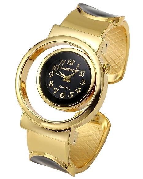 JSDDE para mujer Fashion tono de oro de cuarzo analógico reloj de pulsera, brazalete, diseño de 2, Unique Hollow Dial de diseño de la carcasa negro: ...