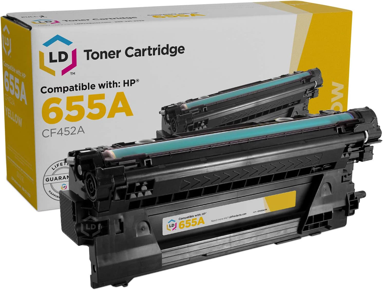 LD Compatible Toner Cartridge Replacement for HP 655A CF452A (Yellow)