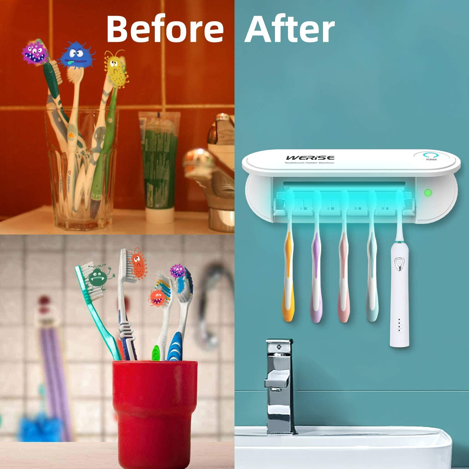 UV Toothbrush Holder Wall Mounted,5 Toothbrush Sterilizer Holder Ultraviolet Light Sterilization /& Drying Function with Two Stickers for Women Kids Baby Bathroom,USB Charging Equipped with Adapter