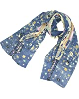 """TONY&CANDICE 100% Silk Luxurious Charmeuse Art Collection Long Scarf Shawl with Hand Rolled Edge, 62"""" L*15.7"""" W"""