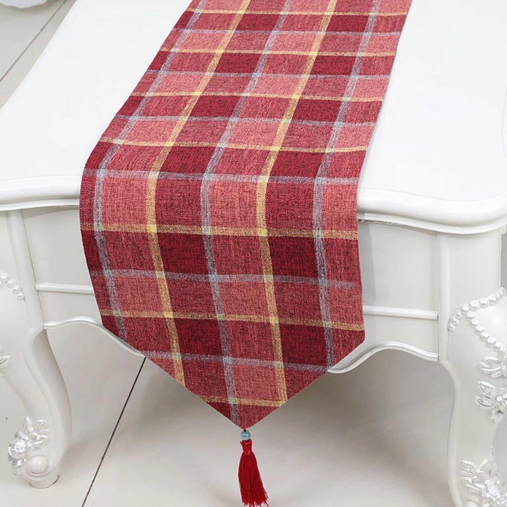 CYALZ Lattice rosso Stripe Cloth Tavolino da tavola Tovaglia Tavolino da caffè Tovagliolo lungo Tovaglia lunga Moderno Semplice Salone Upscale Cucina Ristorante Hotel Tessuti casa (Questo prodotto solo vende corridore da tavolo) 33  230cm