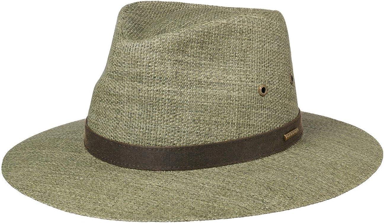 Stetson Cappello Traveller Farlow Toyo Uomo da Sole Estivo con Fascia in Pelle Primavera//Estate