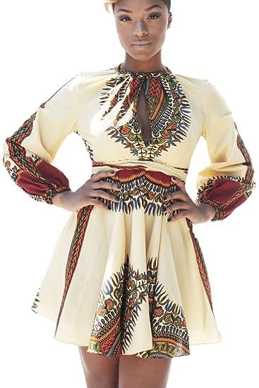 19095258fce Yacun Women s Traditional Tribal African Print Dashiki Dress Mini Dress at Amazon  Women s Clothing store