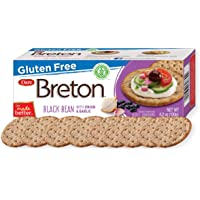 Dare Breton Gluten Free Crackers, Black Bean with Garlic and Onion, 4.2 oz Box (Pack of 6) – Healthy Gluten Free Snacks with No Artificial Colors or Flavors – Made with Black Beans and Tapioca Flour