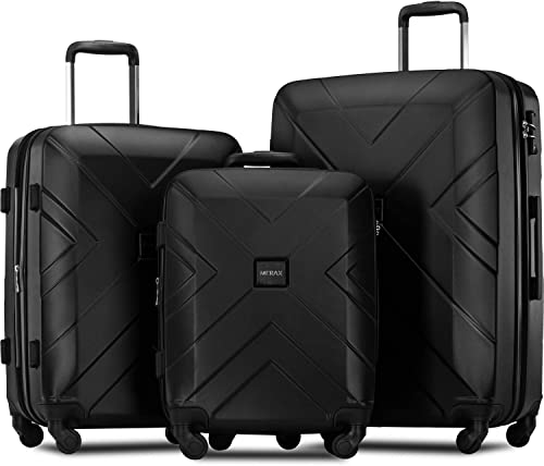 Merax 3 Piece Luggage Sets Expandable ABS Spinner Suitcase with TSA Lock 20 inch 24 inch 28 inch Classic Black