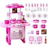 FlyCreat ままごと遊び キッチンセット 32点セット 台所 ままごとセット 組立式 鍋 お皿 フライパン フライ返し 食器 調理器具付 ピンク