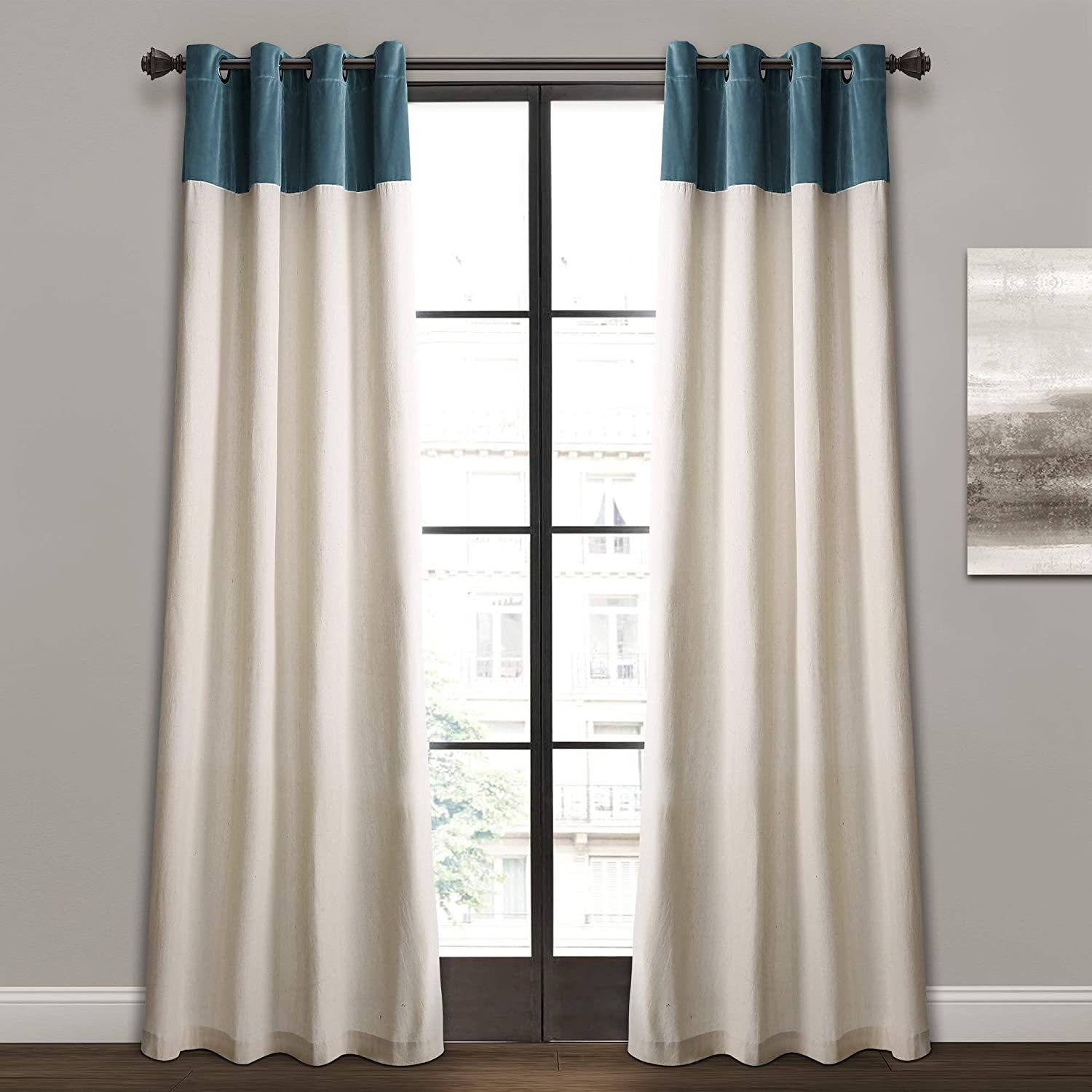 """Pair of Ring Top Eyelet Lined Voile Panel Curtains 46 x 52/"""" Natural Colour Cream"""