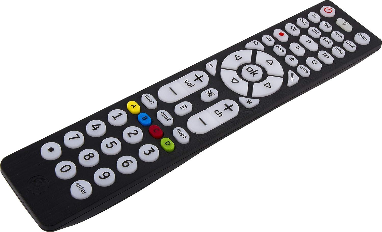 GE 8 Device Universal Remote, Backlit, Works with Smart TVs, Lg, Vizio, Sony, Blu Ray, DVD, DVR, Roku, Apple TV, Streaming Players, Pre-Programmed for Samsung TVs, Black, 40069