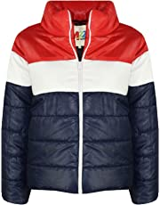 Kids Girls Boys Designer Contrast Panel Hooded Jackets Padded Quilted Warm Coats
