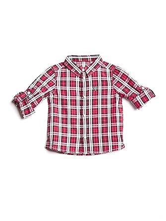 Guess Camicia Manica Lunga Bambino scozzese Rosso  Amazon.co.uk ... 0e68a627e0b7
