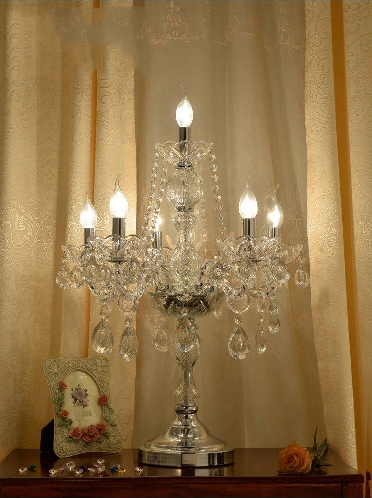 MEHE@ Kristall Tischlampe mit Kristall Anhänger, E14 / 220V, Europäische Luxus Palace Villa Tischleuchte für im Wohnzimmer Schlafzimmer Nacht Schreibtischlampen Nachttischlampen (Farbe : 6. licht)