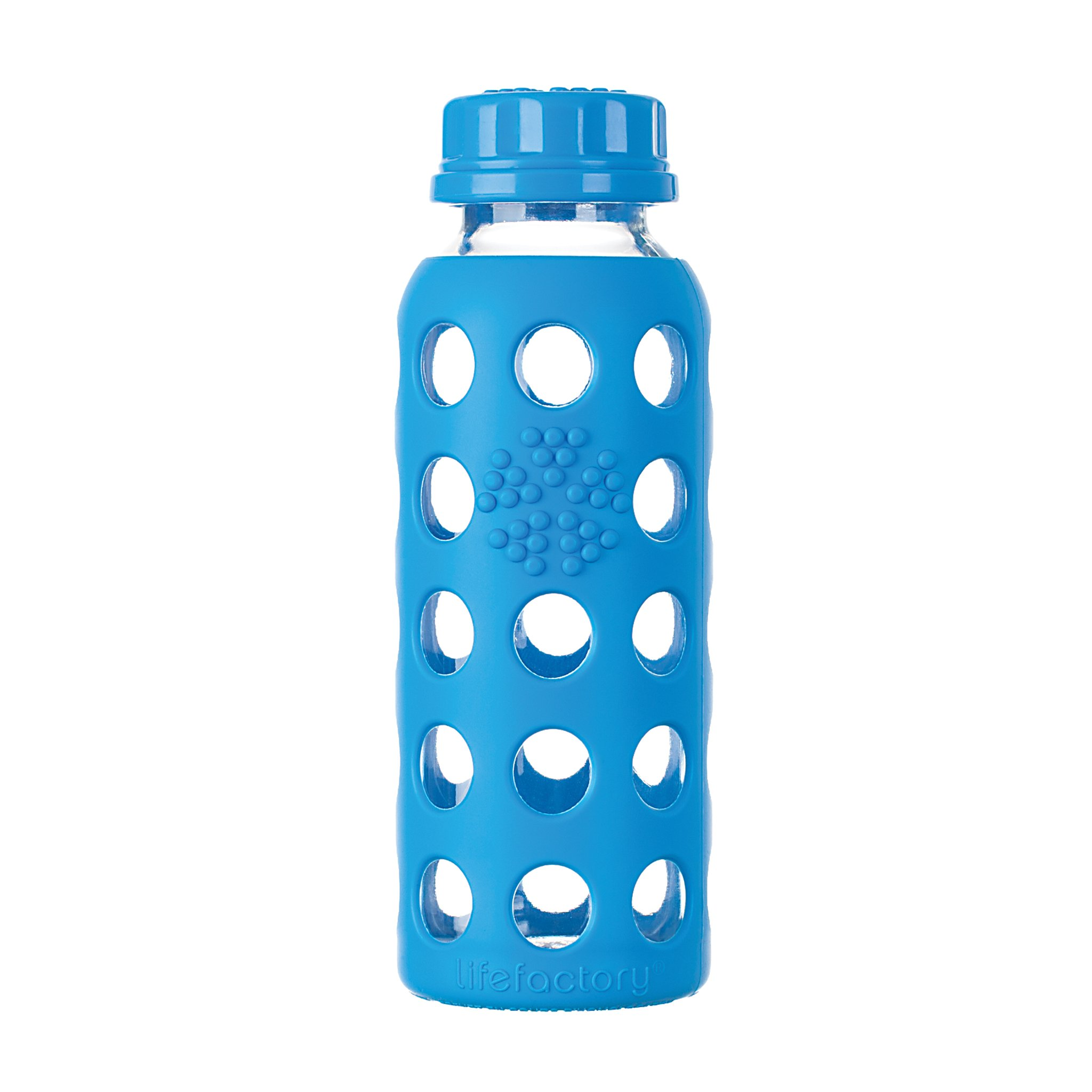 Lifefactory 9-Ounce BPA-Free Glass Water Bottle with Flat Cap and Silicone Sleeve, Ocean