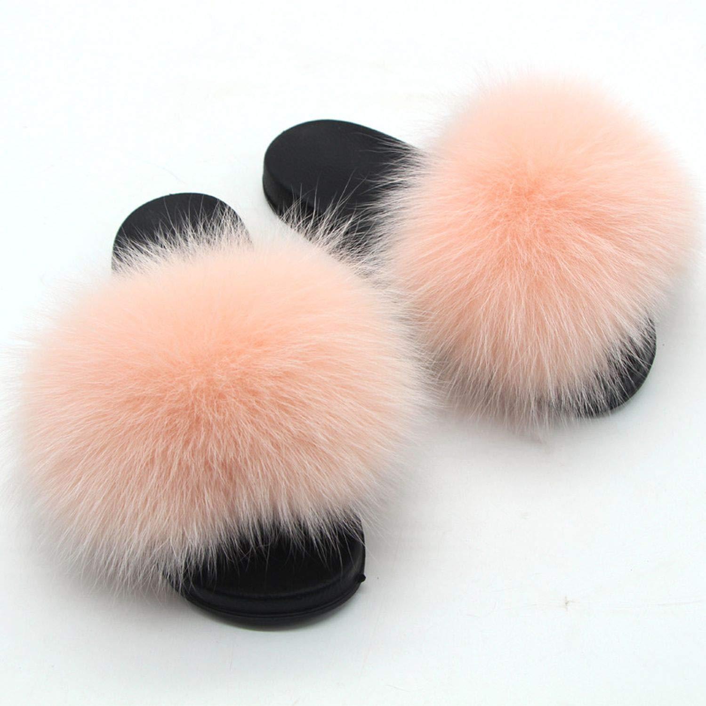 9b3507d9 Amazon.com | Summer Women Fox Fur Slippers Real Hair Slides Female Furry  Indoor Flip Flops Casual Beach Sandals Fluffy Plush Shoes | Slippers