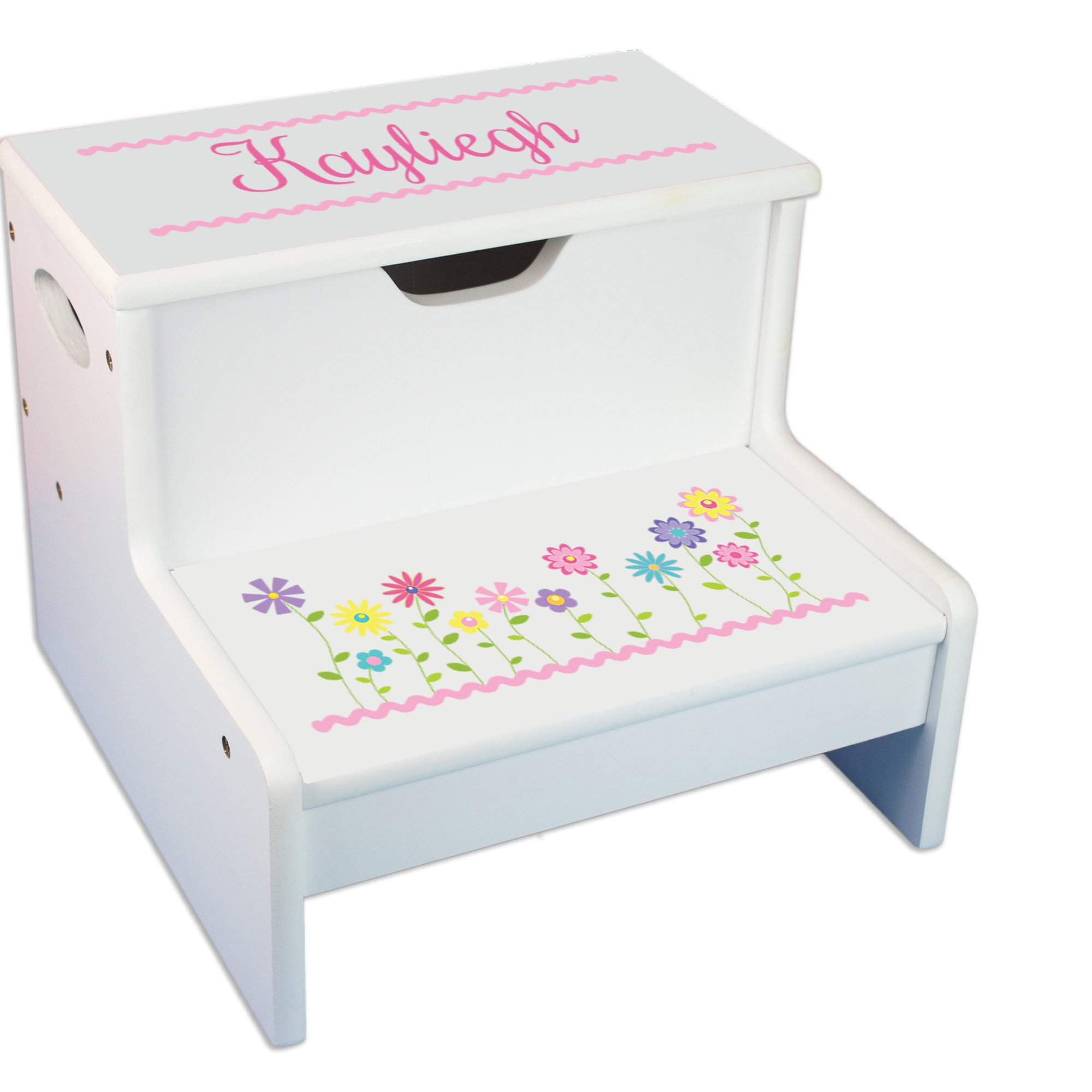Personalized Stemmed Flowers White Childrens Step Stool with Storage