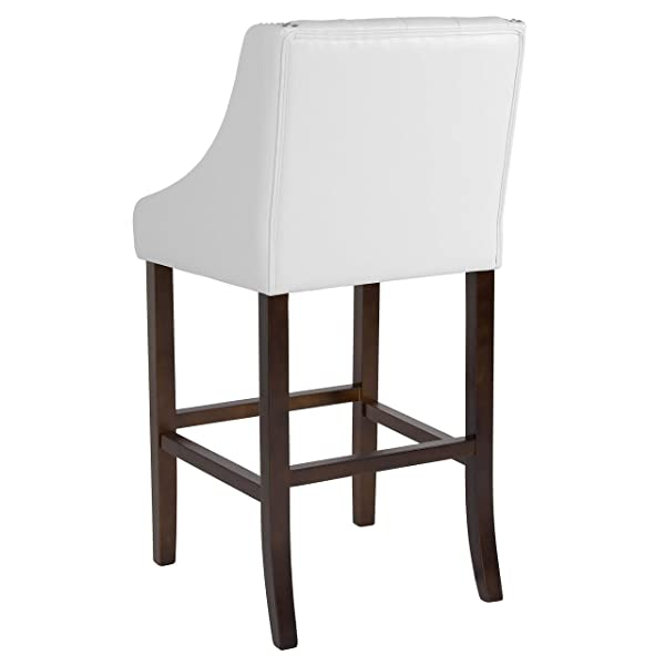 "Taylor + Logan 2 Pk. 30"" High Transitional Tufted Walnut Barstool with Accent Nail Trim in White Leather"