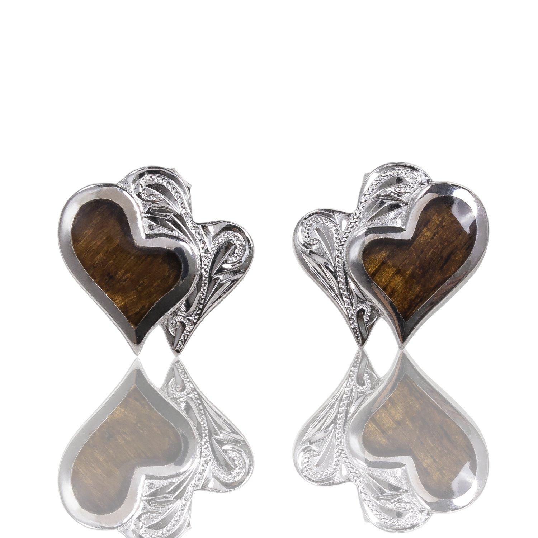 Double Heart Koa Wood Stud Earrings in Italian Sterling Silver