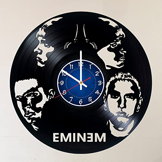 EMINEM Vinyl Record Wall Clock – RAP GOD – Get unique Garage wall decor – MUSIC- Gift ideas for friends, teens ROCK n ROLL KING POP ROCK MUSIC Unique Modern Art – Eminem King of Hip Hop in USA
