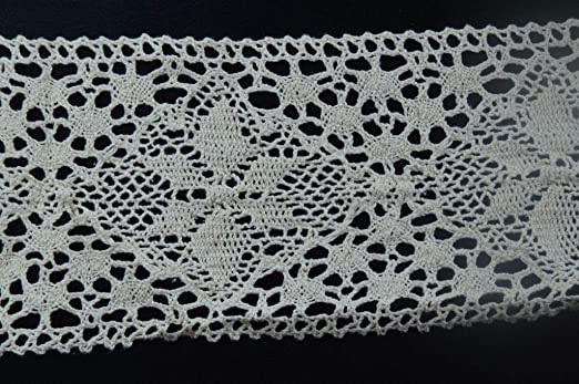 The Silk Cocoon Ecru Toned Scallop Design Hand Crocheted lace 1.75 for Garments,Apparels,Home Decor.Sold by Yard