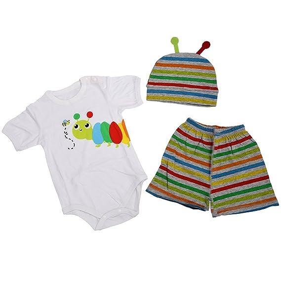 TOOGOO(R) Conjunto de ropa de chica chico bebe nino 3pzs Pelele + Sombrero + Pantalones Conjunto de ropa Verano 80 insectos: Amazon.es: Ropa y accesorios