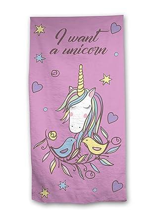 Unicorn Unicornio Toalla de baño - 70 x 140 cm 100% algodón I Want a: Amazon.es: Hogar