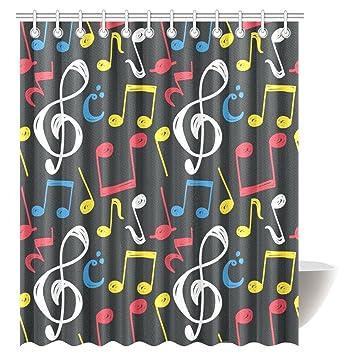 InterestPrint Music Decor Shower Curtain With G Clef Key Fabric Bathroom