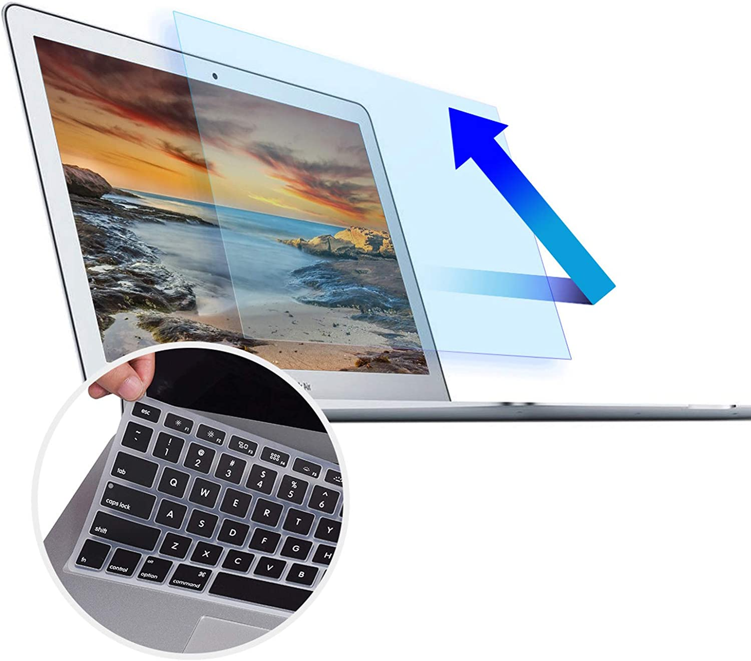 Anti Blue Light Screen Protector for MacBook Air 13 Model A1466 A1369 2010-2017 13.3 Inch, Anti Glare Blue Light Screen Filter With Silicone Keyboard Cover Protector