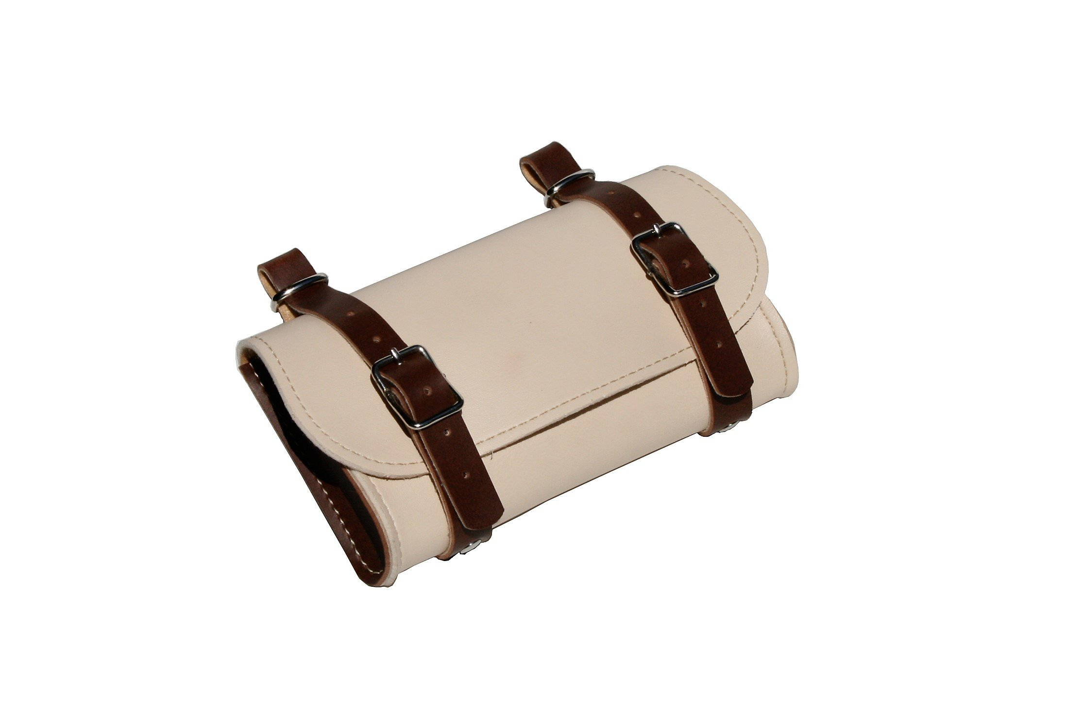 Rear Saddle Bicycle Bag Classic. Bike pannier. Cycling storage. Vintage Style. Simil Leather. Color: Cream/Brown. 100% MADE IN ITALY