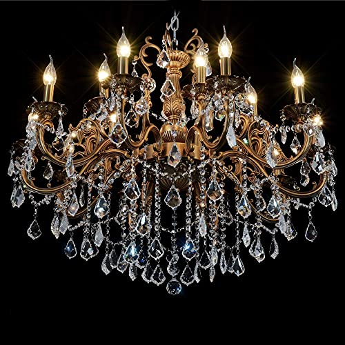MEEROSEE Crystal Chandeliers Contemporary Chandelier Island Lighting 15 Lights Candle Pendant Ceiling Light Fixture