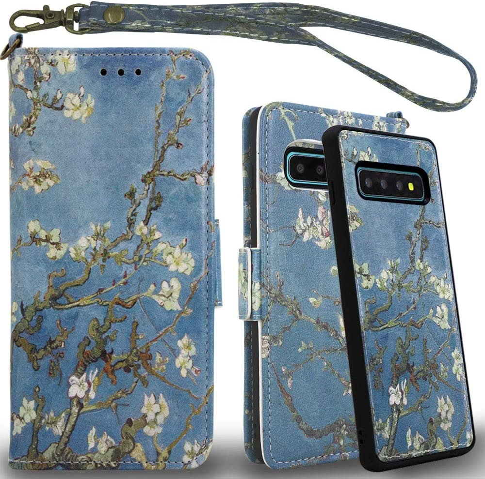Mefon Galaxy S10 Plus Wallet Case Leather Detachable, Durable Slim, Enhanced Magnetic Closure, with Wrist Strap, Card Slot, Kickstand, Luxury Flip Folio Cases for Samsung Galaxy S10+ (Blossom)