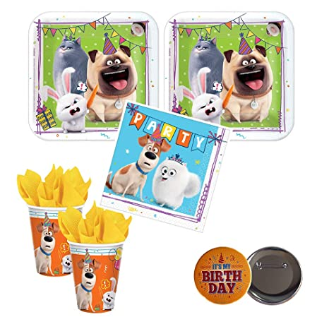 RDC The Secret Life of Pets 2 Movie Party Supplies for 16 Guests - Small Plates, Napkins,Cups + Birthday Button - Officially Licensed