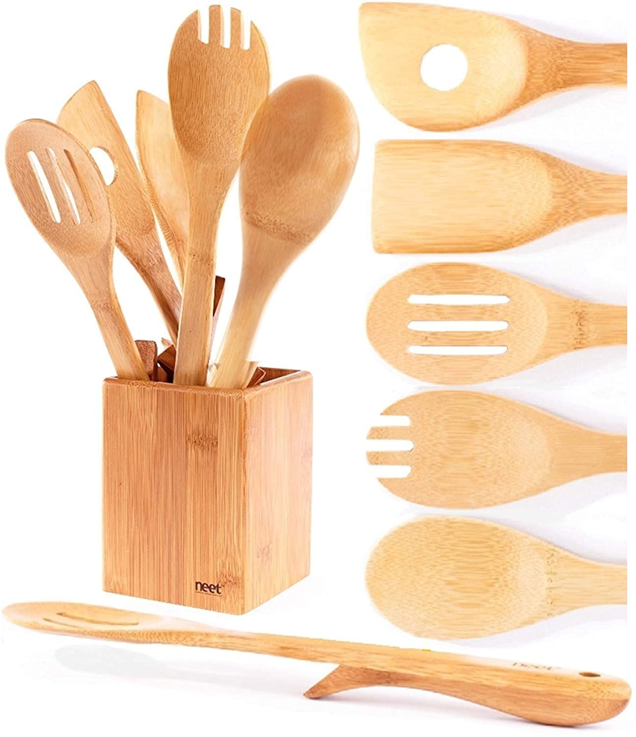 Organic bamboo cooking utensils set unique elevation feature 6 piece set wooden spoons spatula kitchen utensil set high heat resistant wood serving