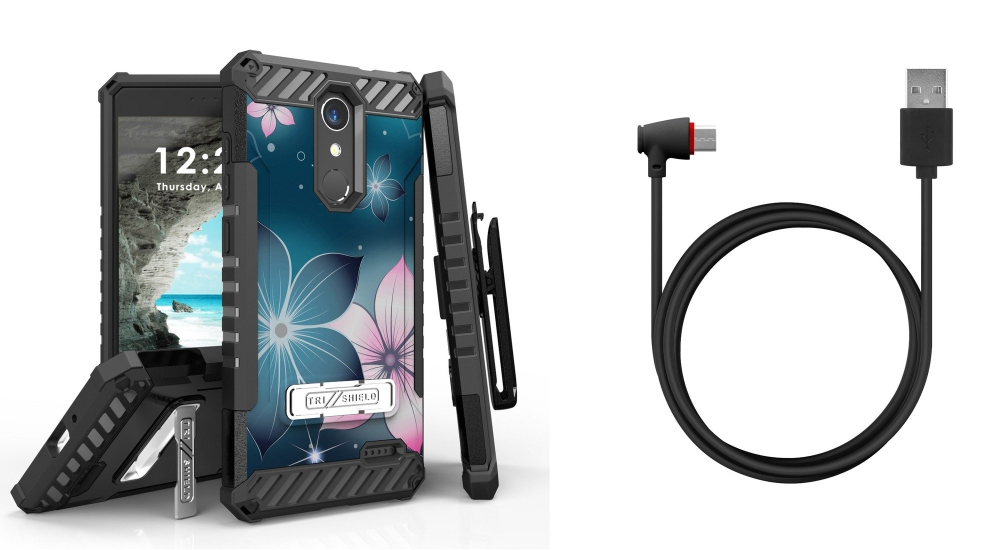 Tri-Shield Military Grade Case Bundle with Belt Clip Holster (Mystic Flowers), [90 Degree/Right Angle] USB Type C Cable [4 Foot], Atom Cloth for ZTE Blade Spark, ZTE ZMAX One LTE, ZTE Grand X 4
