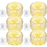 Oak Leaf 60 LED String Lights,6 Pack Waterproof 9.8 Feet Starry Lights Battery Operated for Bedroom Indoor Party Wedding Decorative Outdoor,Warm White