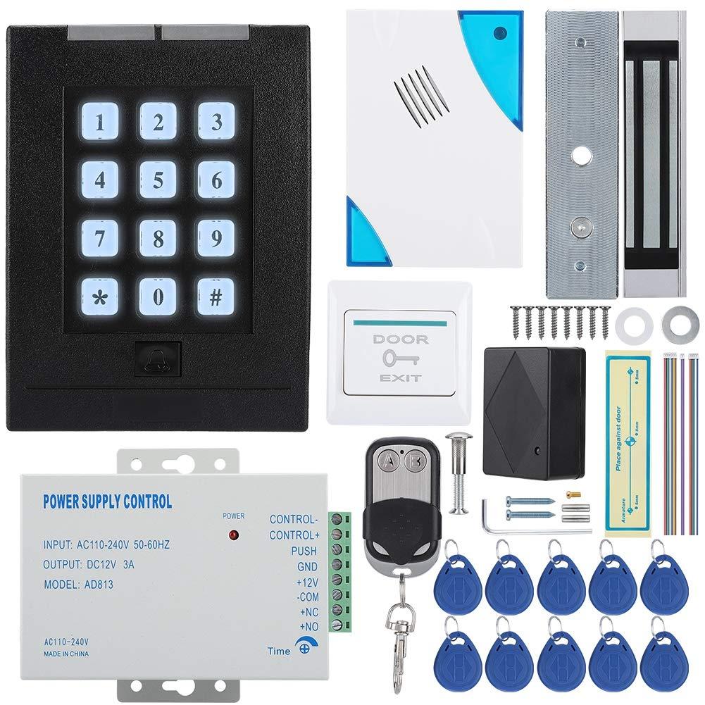 Kit de Sistema de Control de Acceso para Puertas Metal 180KG Force Kit de Fuente de alimentaci/ón de Bloqueo magn/ético el/éctrico